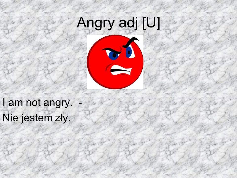 Angry adj [U] I am not angry. - Nie jestem zły.